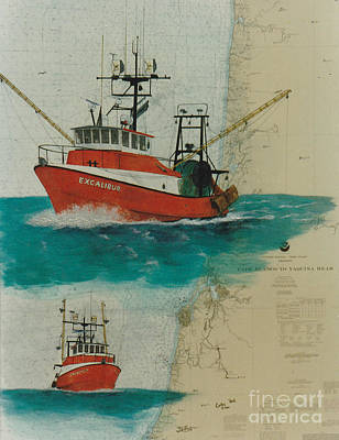 Chart Painting - Excalibur Fishing Boat Nautical Chart Map by Cathy Peek