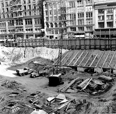 Photograph - Excavation,  Union Square, Parking Garage  July 13, 1941 by California Views Mr Pat Hathaway Archives