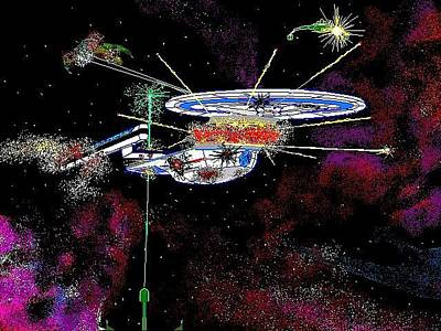 Klingon Wall Art - Digital Art - Excelsior Attack by Timothy Smith