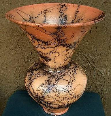 Raku Ceramic Art - Exceptional Large Tinted Horsehair Pottery Urn by Rob Drexel