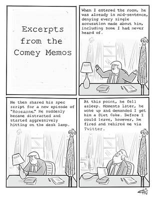 Drawing - Excerpts From The Comey Memos by Ellis Rosen