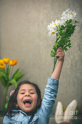 Photograph - Excited Baby Girl With Flowers by Anna Om