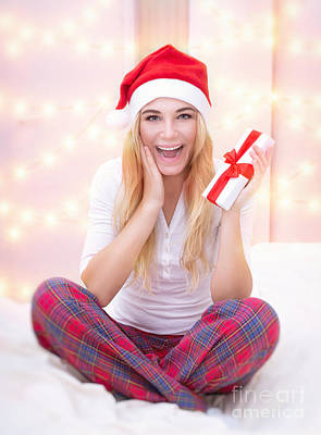 Photograph - Excited Girl With Christmas Gift by Anna Om