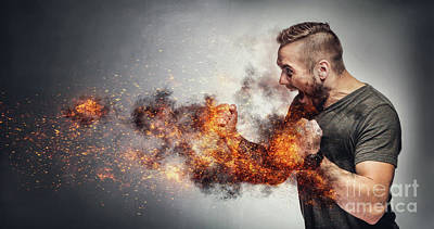 Photograph - Excited Man In Fighting Gesture With Fists On Fire. by Michal Bednarek
