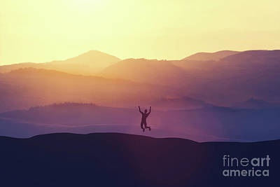 Photograph - Excited Man Jumping Of Joy On A Hill. by Michal Bednarek