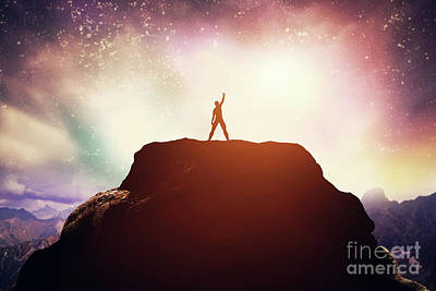 Photograph - Excited Man Standing On The Peak Of A Mountain. by Michal Bednarek