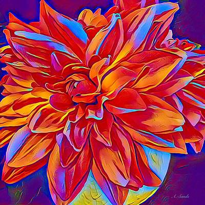 Digital Art - Exciting Red Dahlia by Anne Sands