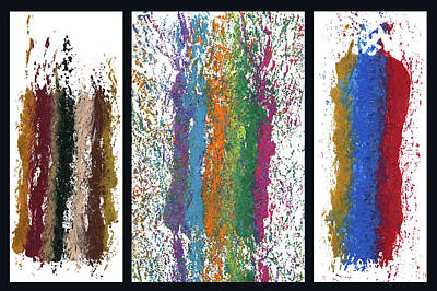 Painting - Exclamations Triptych by Lori Kingston