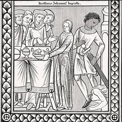 Decapitation Drawing - Execution Of John The Baptist. Copy Of by Vintage Design Pics