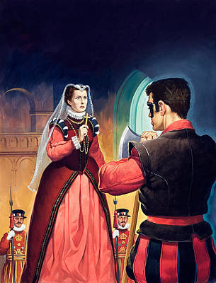 English Gouache Painting - Execution Of Mary Queen Of Scots by English School