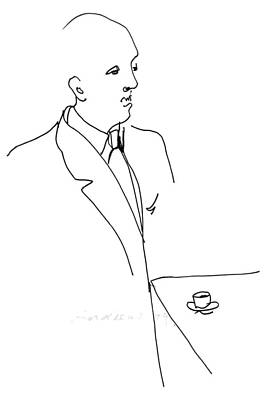 Drawing - Executive with coffee by Annabel Andrews
