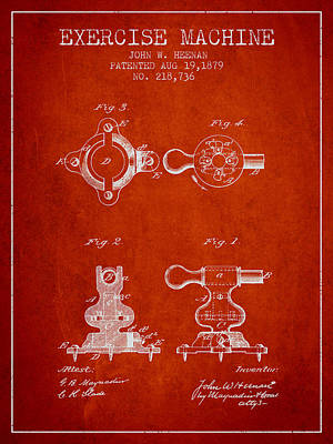 Yoga Drawing Digital Art - Exercise Machine Patent From 1879 - Red by Aged Pixel