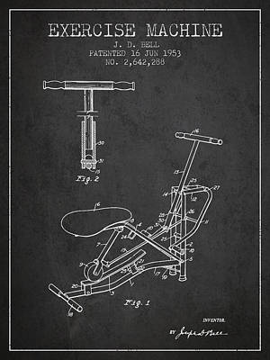 Exercise Machine Patent From 1953 - Charcoal Art Print by Aged Pixel