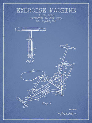 Yoga Drawing Digital Art - Exercise Machine Patent From 1953 - Light Blue by Aged Pixel
