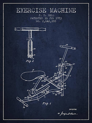 Exercise Machine Patent From 1953 - Navy Blue Art Print by Aged Pixel