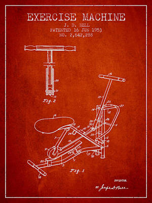 Yoga Drawing Digital Art - Exercise Machine Patent From 1953 - Red by Aged Pixel
