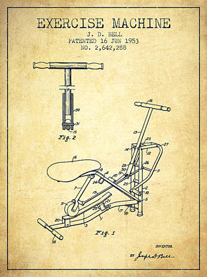 Yoga Drawing Digital Art - Exercise Machine Patent From 1953 - Vintage by Aged Pixel