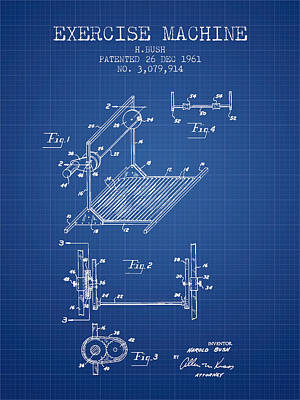 Yoga Drawing Digital Art - Exercise Machine Patent From 1961 - Blueprint by Aged Pixel