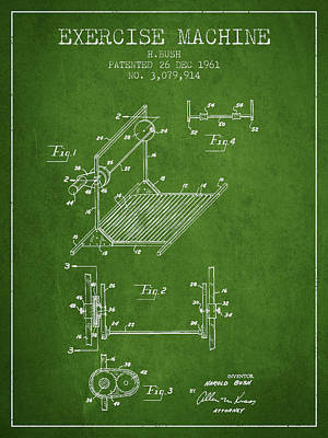 Yoga Drawing Digital Art - Exercise Machine Patent From 1961 - Green by Aged Pixel