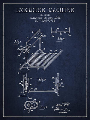 Yoga Drawing Digital Art - Exercise Machine Patent From 1961 - Navy Blue by Aged Pixel