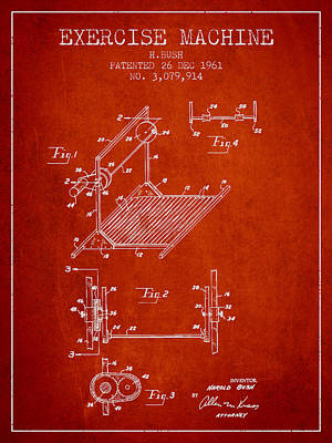 Exercise Machine Patent From 1961 - Red Art Print by Aged Pixel
