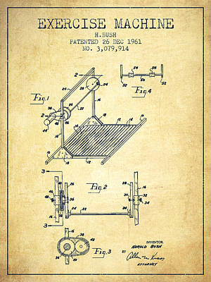Yoga Drawing Digital Art - Exercise Machine Patent From 1961 - Vintage by Aged Pixel
