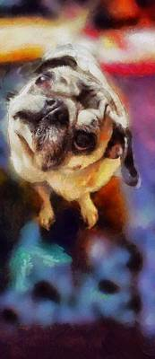 Painting - Existential Zues Pug Painting By Artist Mendyz Quizzical Confused Dog Looking With Big Eyes by MendyZ