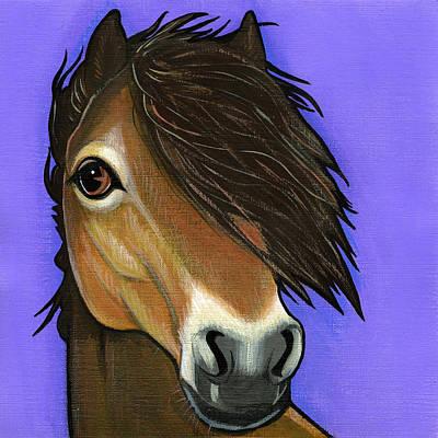Wild Horse Painting - Exmoor Pony  by Leanne Wilkes