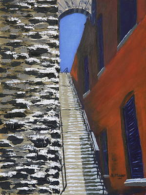 Painting - Exorcist Stairs In Winter by Alan Mager