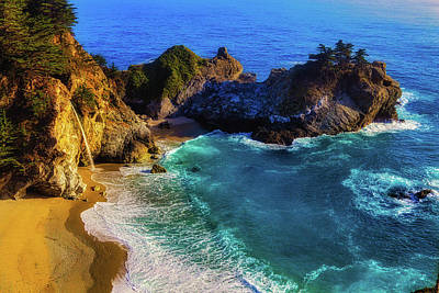 Coast Highway One Photograph - Exotic Big Sur Waterfall by Garry Gay