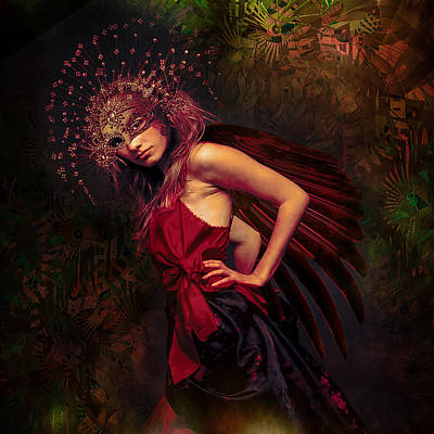 Digital Fine Art Painting - Exotic Bird In The Forest by Jeff Burgess