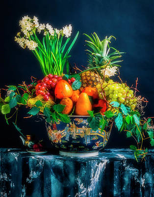 Pedestal Photograph - Exotic Bowl Of Fruit by Garry Gay
