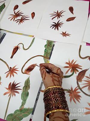 Photograph - Exotic Brahma Kamal Floral Art In Progress by Rizwana Mundewadi