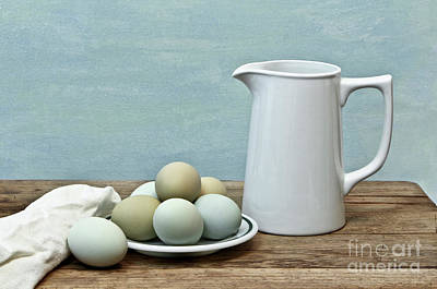 Photograph - Exotic Colored Eggs With Pitcher by Pattie Calfy
