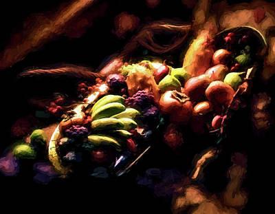 Exotic Fruit Platter Art Print by Peter Hogg