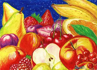 Lemon Mixed Media - Exotic Fruts  by Alban Dizdari
