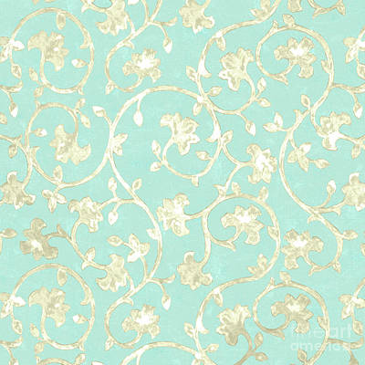 Robin Mixed Media - Exotic Golden Baroque Floral Damask Pattern, Robin's Egg Blue by Tina Lavoie