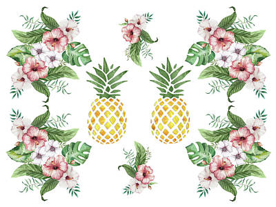 Art Print featuring the painting Exotic Hawaiian Flowers And Pineapple by Georgeta Blanaru
