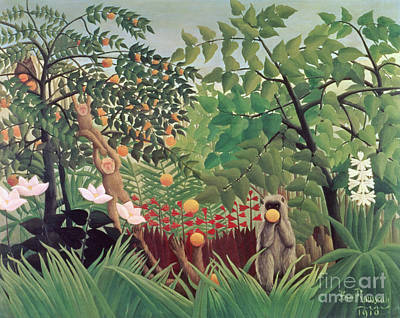 Tropical Fruit Painting - Exotic Landscape by Henri Rousseau