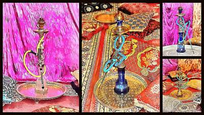 Photograph - Exotic Oriental Hookah Pipe Collage by Dorothy Berry-Lound