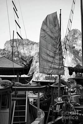 Photograph - Exotic Sails Vietnam Black White  by Chuck Kuhn
