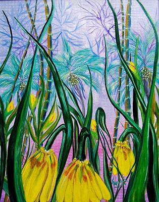 Painting - Exotic Yellow Blooms by Kathern Welsh