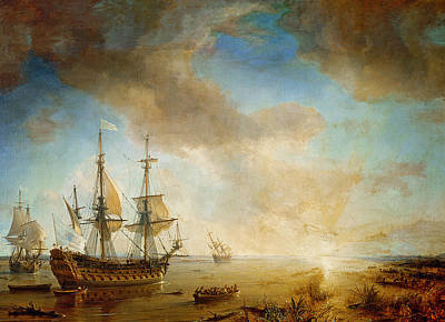 Pirate Ship Painting - Expedition Of Robert Cavelier De La Salle  by Jean Antoine Theodore Gudin