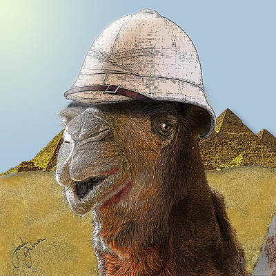Digital Art - Expeditionary Camel At Giza by Jonah Gibson