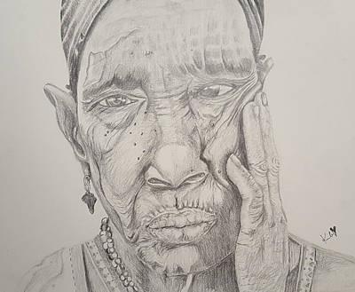Tribal Women Drawing - Experience by Adekunle Ogunade
