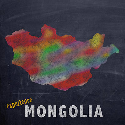Experience Mixed Media - Experience Mongolia Map Hand Drawn Country Illustration On Chalkboard Vintage Travel Promotional Pos by Design Turnpike