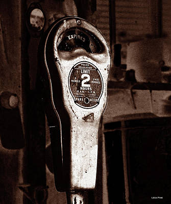 Photograph - Expired Vintage Parking Meter Sepia by Lesa Fine