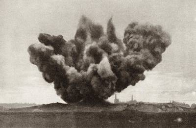 Exploding Artillery Shell During The Art Print by Vintage Design Pics