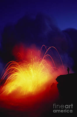 Exploding Lava And Person Art Print by Greg Vaughn - Printscapes