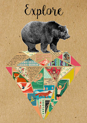 Mixed Media - Explore Bear  by Claudia Schoen
